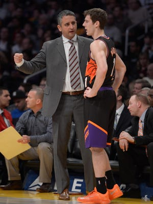 Feb 12, 2013: Phoenix Suns assistant coach Igor Kokoskov (left) talks with guard Goran Dragic (1) during the game against the Los Angeles Lakers at the Staples Center. The Lakers defeated the Suns 91-85.