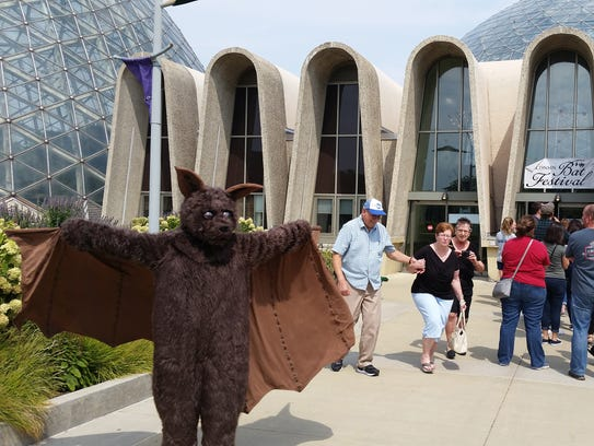 A person in a bat costume greets people at the Bat