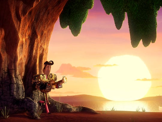 """This photo released by Twentieth Century Fox & Reel FX shows a scene from producer Guillermo del Toro and director Jorge Gutierrez's animated feature film comedy, """"Book of Life."""" The movie is rich with imagery from Mexican folklore, with a special emphasis on the Day of the Dead, the food- and music-filled celebration of the annual return of the spirits of deceased loved ones.  (AP Photo/Twentieth Century Fox & Reel FX)"""