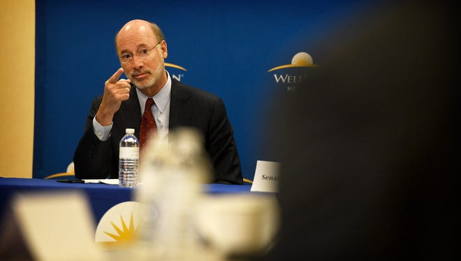 Gov. Tom Wolf speaks to local officials during a roundtable discussion on the opioid and heroin addiction crisis Monday, May 23, 2016, at WellSpan Good Samaritan Hospital in Lebanon.