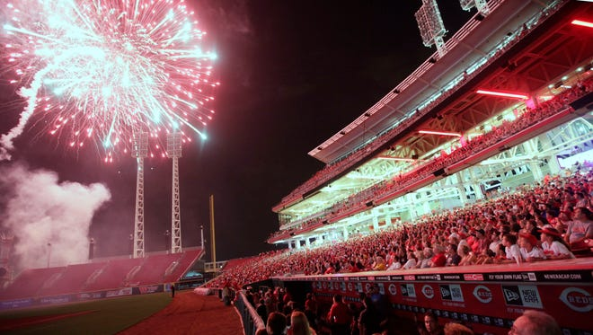 Rozzi Fireworks has themes for its fireworks displays on Friday nights after Reds games. This display from Aug. 3, 2012 had a soundtrack for Reds broadcaster Marty Brennaman, who had shaved his head for charity after losing a bet that the Reds couldn't win 10 straight games. Rozzi's has programed 15 themes for this season, starting with Opening Day.