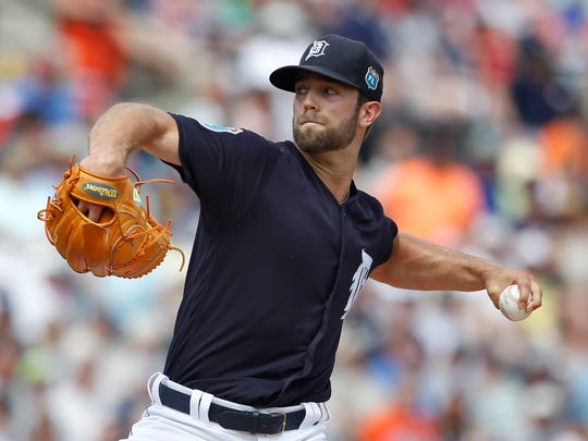 Detroit Tigers starting pitcher Daniel Norris throws during the first inning against the New York Mets on Monday, March 14, 2016, at Joker Marchant Stadium in Lakeland, Fla.