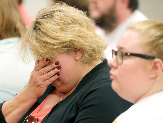 Susan Taylor, the grandmother of Brianna Gussert, breaks down in Outagamie County Court Monday as Nicole L. Gussert is charged with causing the girl's death by neglect.