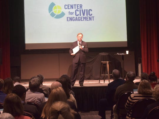 Quint Studer announces the creation of the Center for Civic Engagement during a CivicCon presentation on Tuesday, March 13, 2018, at the REX Theatre in downtown Pensacola.