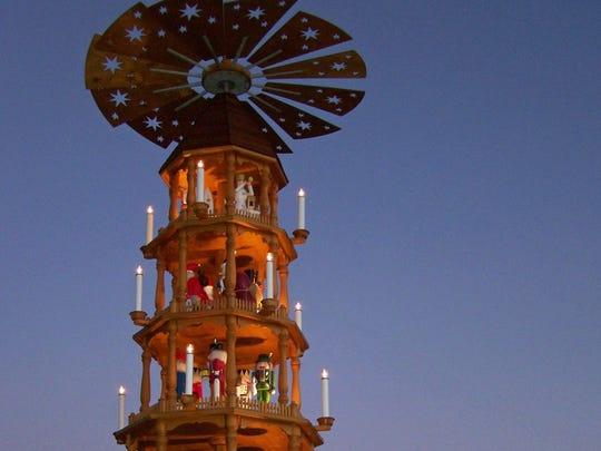 German Christmas Pyramid in Fredericksburg, Texas.