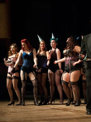 Actresses dance on stage Monday, Oct. 17, during rehearsal for Rocky Horror Show at McMorran Theatre.