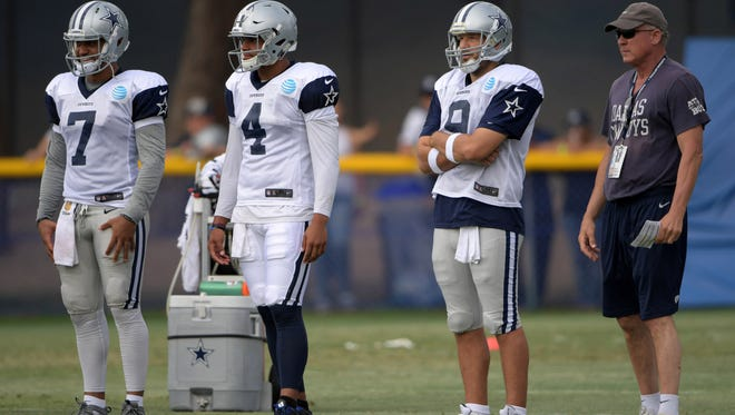 Dallas Cowboys quarterbacks Dak Prescott (4) and Tony Romo (9) watch drills in training camp.