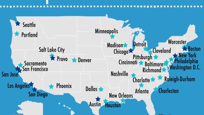 Tech hot spots in the USA.