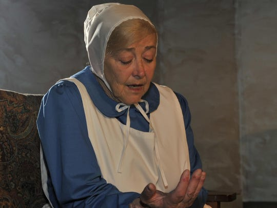 "Nancy Holley star's in the Ice House production of the ""Amish Project"" in full dress on April 13."