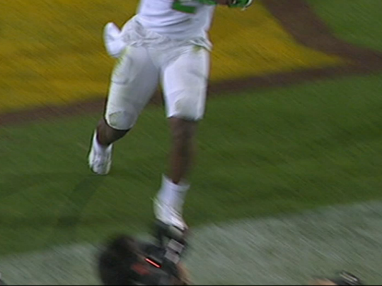 Though close, Bralon Addison's toe came down on the