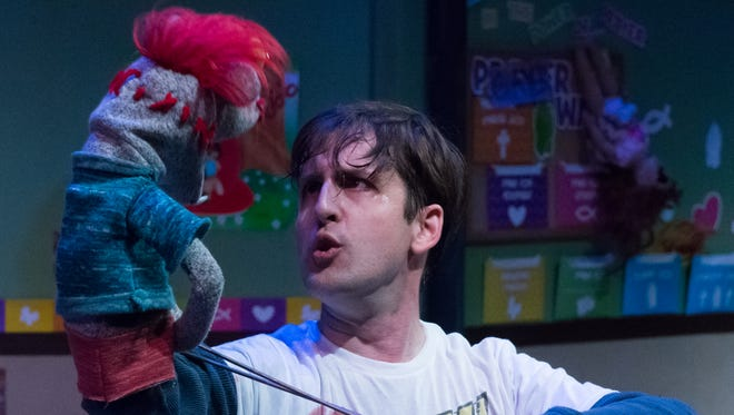 """Eric Zaklukiewicz in """"Hand to God,"""" a co-production of Stray Cat Theatre and Phoenix Theatre."""