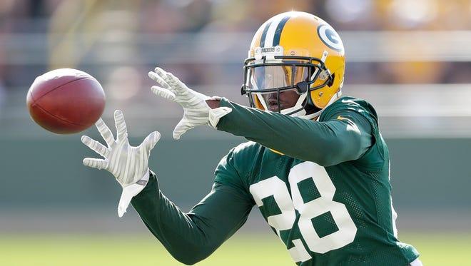 Green Bay Packers cornerback Josh Hawkins (28) during training camp at Ray Nitschke Field.