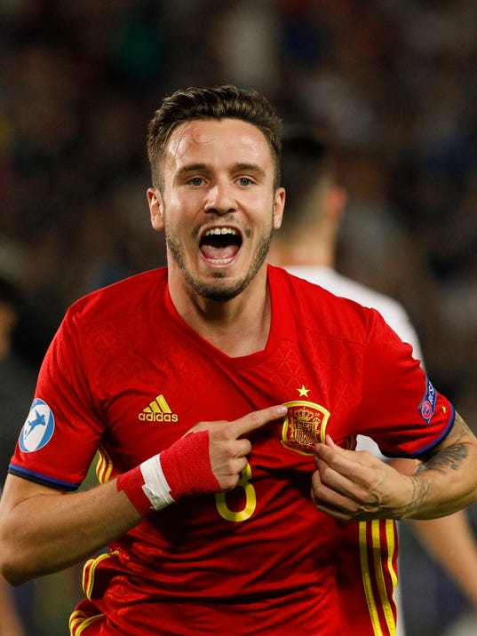 Spain's Saul Niguez celebrates after scoring during the Euro Under 21 semifinal soccer match between Italy and Spain, at the Krakow Stadium, Poland, Tuesday, June 27, 2017. (AP Photo/Czarek Sokolowski)