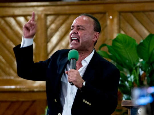 Rep. Luis Gutierrez D-Ill., speaks to immigrant rights advocates during a rally against President-elect Donald Trump's immigration policies, at Metropolitan AME Church in Washington, Saturday, Jan. 14, 2017.