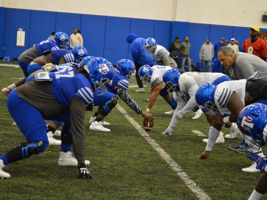 Tennessee State has done a lot of experimenting by moving players around along the offensive line this spring.