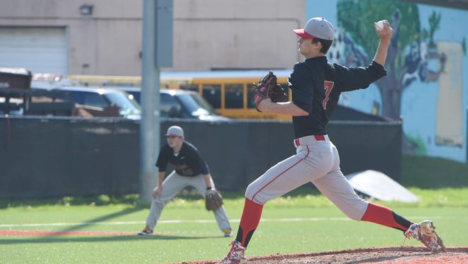Red Hook's Austin Cole throws a pitch during Monday's game against Poughkeepsie.