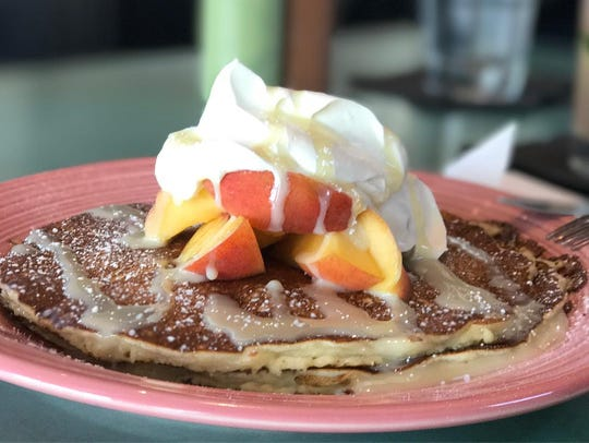 Flap jacks and McClendon's Select peaches with whipped
