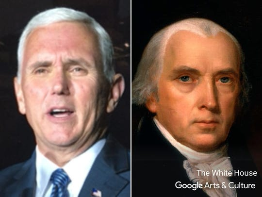 Mike Pence matched up with James Madison on the Google