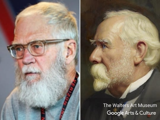 "David Letterman matched with ""Portrait of Henry Walters."""