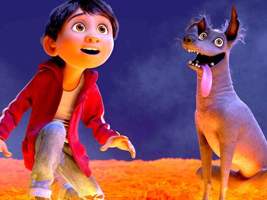 "Miguel (voice of Anthony Gonzalez) and his dog Dante take a trip to The Land of the Dead in animated adventure ""Coco."""