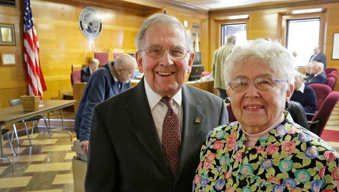 Roger Otten, and Audrey Otten, longtime representatives at the city and county level, pose before a county board meeting in the Sheboygan County Board Chambers, Tuesday, April 17, 2018, in Sheboygan, Wis. Both Ottens, both 88, have a total over 50 years in politics between the two of them according to their daughter Cindy Hogfeldt.