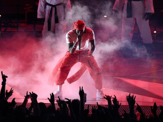 Kendrick Lamar performs Aug. 27 at the MTV Video Music