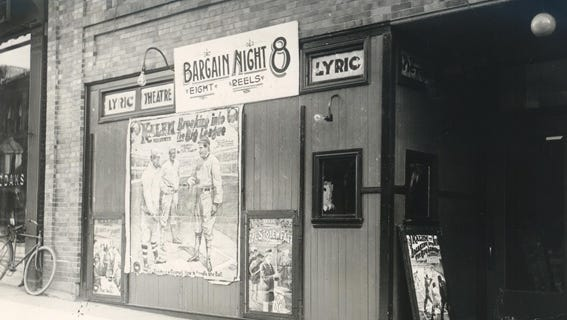The Lyric theater opened in the downstairs of the Winslow Block building in 1908 but closed shortly after The Strand moved in upstairs.