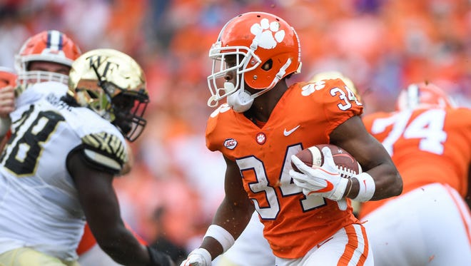 Clemson wide receiver Ray-Ray McCloud (34) carries against Wake Forest during the 3rd quarter on Saturday, October 7, 2017 at Clemson's Memorial Stadium.