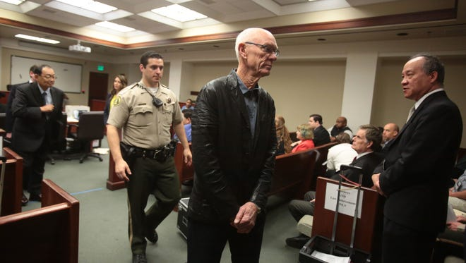 Businessman John Wessman exits the courtroom after his arraignment hearing at the Riverside criminal courthouse in Riverside, California, Thursday, March 16, 2017.