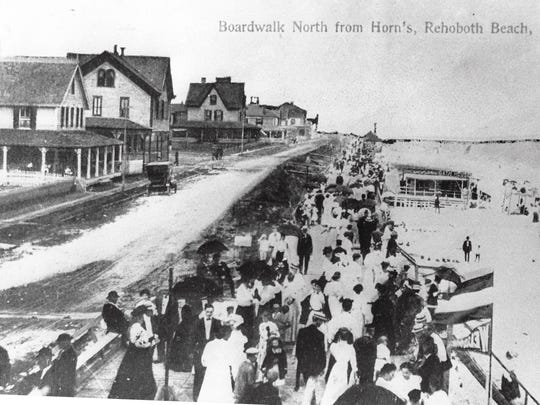 The Rehoboth Beach boardwalk, looking north for what was then know as Horn's, circa 1910.