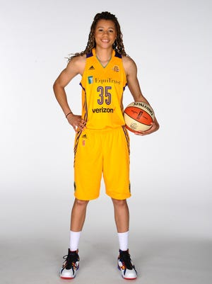 Former FGCU star Whitney Knight poses for a portrait during the Los Angeles Sparks media day on May 12, 2016 at St. Mary's High School in Inglewood, California.