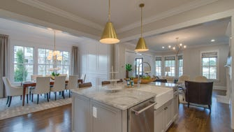 The Southern Land model home at Westhaven has an updated floor plan with the kitchen open to the family room.The dining area is set off in its own space but flows with the adjoining rooms.