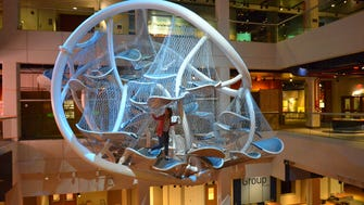 The Infinity Climb is a multi-story play space 35 feet off the ground.