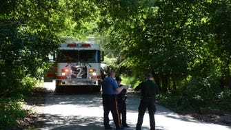 Police respond to a cyclist who fell off a cliff at Mills Reservation in Cedar Grove on June 26, 2017.