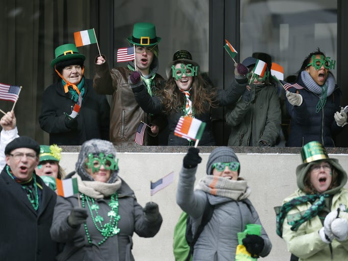 Watching the St. Patrick's Day parade under the Eastman