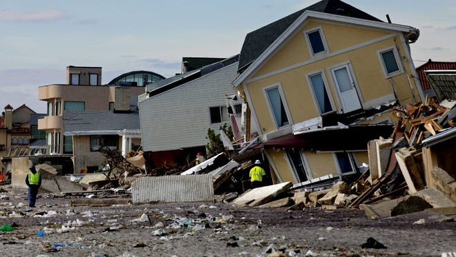 A badly damaged home following Hurricane Sandy.