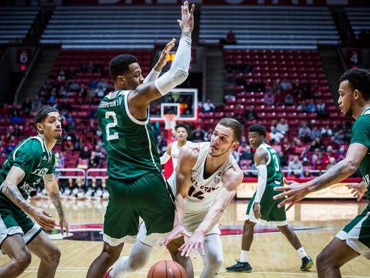 Ball State defeated Eastern Michigan 72-62 at Worthen