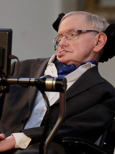 Professor Stephen Hawking delivers a keynote speech as he receives the Honorary Freedom of the City of London, March 6, 2017. Hawking was presented the City of London Corporation's highest award Monday in recognition of his outstanding contribution to theoretical physics and cosmology.