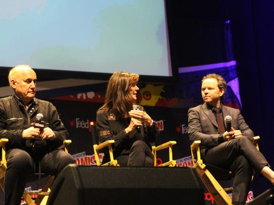 """Jeph Loeb (from left), Lauren Shuler Donner and Noah Hawley discuss """"Legion"""" at New York Comic Con in 2016."""