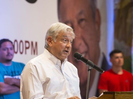 Lopez Obrador spoke before hundreds of cheering supporters,