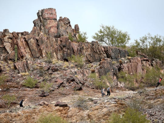 Hikers on the Summit Trail at Piestewa Peak.