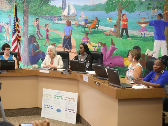 Members of the Poughkeepsie City School District board, from left, Vice President Doreen Clifford, interim Superintendent Kathleen Farrell, President Felicia Watson, board members Michelle Martinez-Leffert and Debra Long, during a board meeting at district offices on July 5, 2018.