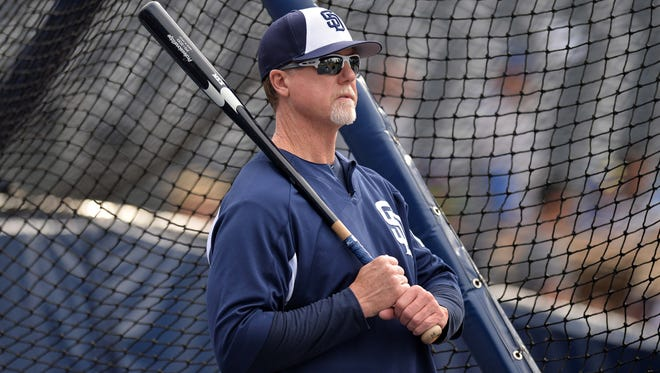 Padres bench coach Mark McGwire retired with 583 career home runs.