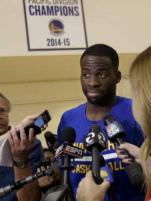 Golden State Warriors forward Draymond Green speaks with the media after a practice. Green is refreshing in his interviews.