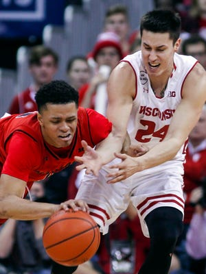 UW guard Bronson Koenig came off the bench to play 31 minutes against Maryland. He finished with nine points on 4-for-11 shooting.