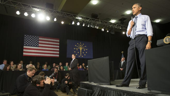 President Barack Obama speaks at Ivy Tech, Indianapolis, Friday, Feb. 6, 2015.