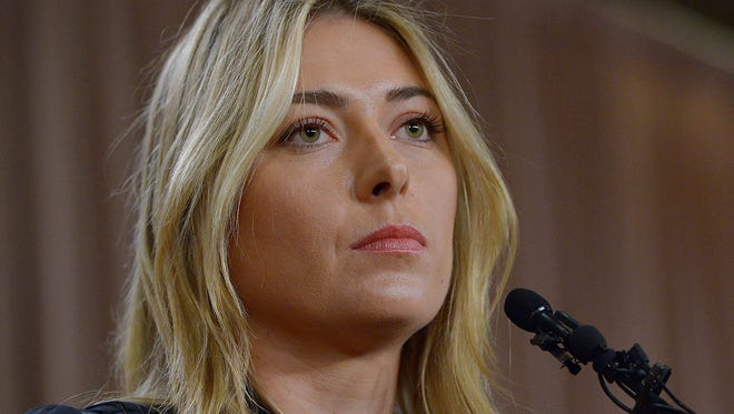 Maria Sharapova speaks to the media announcing a failed drug test after the Australian Open during a press conference March 7 at The LA Hotel Downtown.