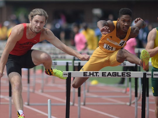 Woodbury's Cheo King participates in the boys' Group 1 110-meter hurdles during the NJSIAA Non-Public A, Group 1 and Group 4 Track and Field Championships at Egg Harbor Township High School on Saturday.