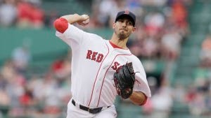 Boston pitcher Rick Porcello delivers during the first inning. (AP Photo/Charles Krupa)