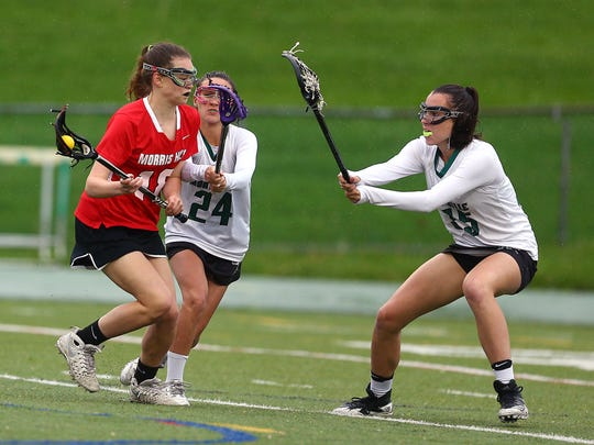 Morris Hills' Jenna Draney goes in to score vs. Montville in NJSIAA North 1 Group III opening-round game. May 16, 2018. Montville, NJ